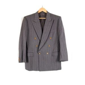 Canali Grey Pinstripe Double Breasted Suit Jacket